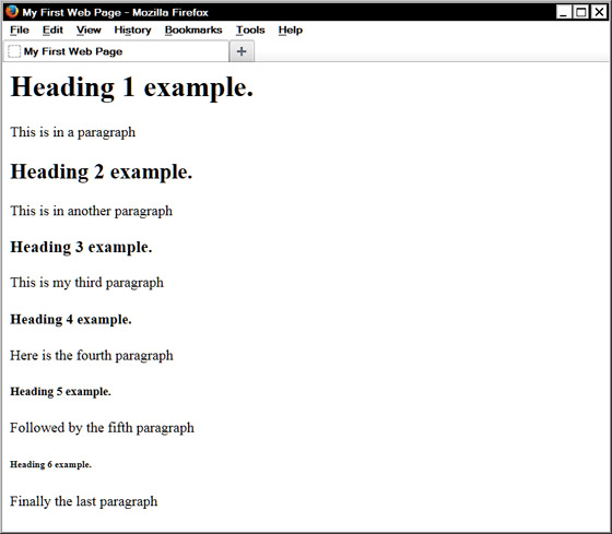 how to make subheadings in html